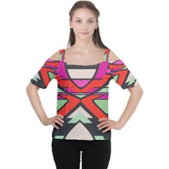 Shapes in retro colors Women s Cutout Shoulder Tee