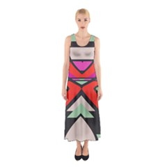 Shapes in retro colors Full Print Maxi Dress