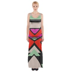 Shapes In Retro Colors Maxi Thigh Split Dress