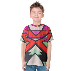 Shapes In Retro Colors Kid s Cotton Tee