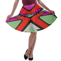 Shapes In Retro Colors A Line Skater Skirt