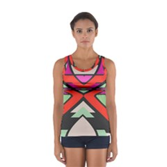 Shapes In Retro Colors Women s Sport Tank Top