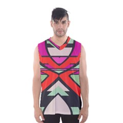 Shapes in retro colors Men s Basketball Tank Top