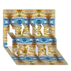 Gold And Blue Elegant Pattern Take Care 3d Greeting Card (7x5)