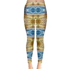 Gold And Blue Elegant Pattern Women s Leggings