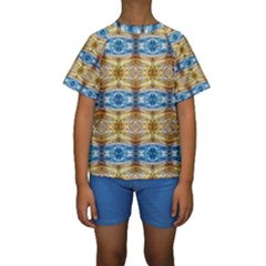 Gold And Blue Elegant Pattern Kid s Short Sleeve Swimwear