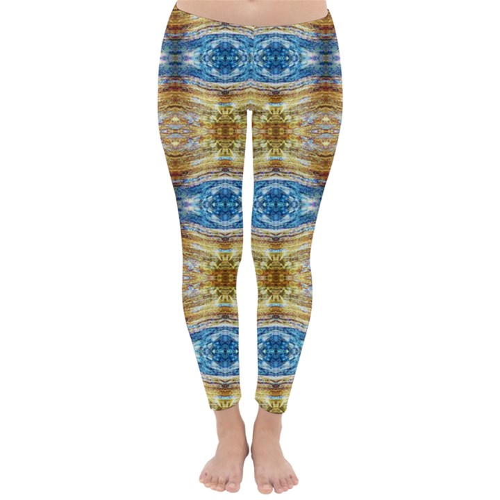 Gold And Blue Elegant Pattern Winter Leggings