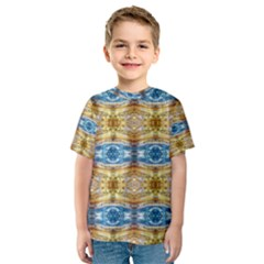 Gold And Blue Elegant Pattern Kid s Sport Mesh Tees