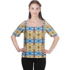 Gold And Blue Elegant Pattern Women s Cutout Shoulder Tee