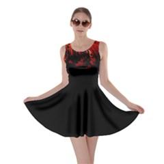 Dark Red Bird Skater Dresses