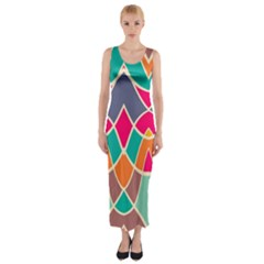 Wavy design Fitted Maxi Dress