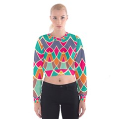 Wavy design   Women s Cropped Sweatshirt