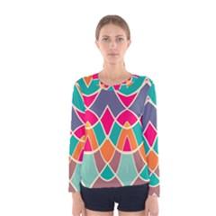 Wavy Design Women Long Sleeve T Shirt