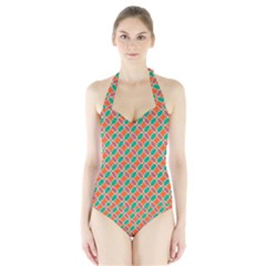 Stars and flowers pattern Women s Halter One Piece Swimsuit