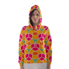 Shapes In Retro Colors Pattern Hooded Wind Breaker (women)