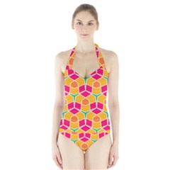 Shapes in retro colors pattern Women s Halter One Piece Swimsuit