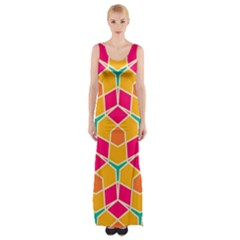 Shapes in retro colors pattern Maxi Thigh Split Dress