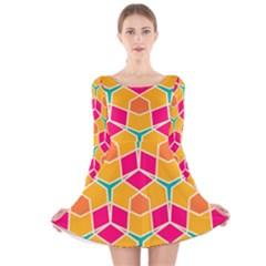 Shapes in retro colors pattern Long Sleeve Velvet Skater Dress