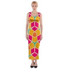 Shapes In Retro Colors Pattern Fitted Maxi Dress
