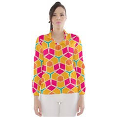 Shapes in retro colors pattern Wind Breaker (Women)