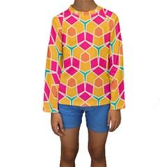 Shapes In Retro Colors Pattern  Kid s Long Sleeve Swimwear