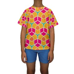 Shapes in retro colors pattern  Kid s Short Sleeve Swimwear