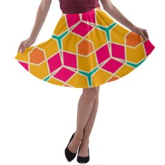 Shapes In Retro Colors Pattern A Line Skater Skirt