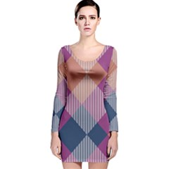 Argyle Variation Long Sleeve Velvet Bodycon Dress