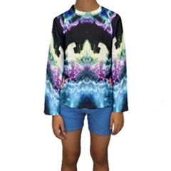 Space Cosmos Black Blue White Red Kid s Long Sleeve Swimwear