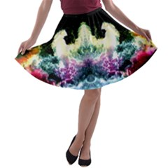 Space Cosmos Black Blue White Red A Line Skater Skirt