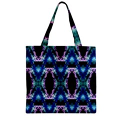 Blue, Light Blue, Metallic Diamond Pattern Zipper Grocery Tote Bags