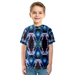 Blue, Light Blue, Metallic Diamond Pattern Kid s Sport Mesh Tees