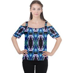 Blue, Light Blue, Metallic Diamond Pattern Women s Cutout Shoulder Tee