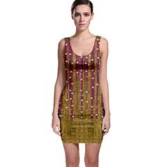 Japanese Strawberry Tree In Gold Bodycon Dress