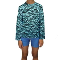 Blue Green  Wall Background Kid s Long Sleeve Swimwear