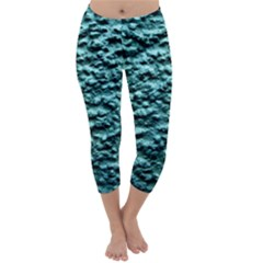 Blue Green  Wall Background Capri Winter Leggings
