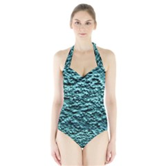 Blue Green  Wall Background Women s Halter One Piece Swimsuit