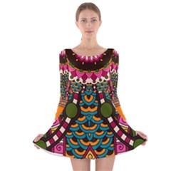 tribal8_1 Long Sleeve Velvet Skater Dress