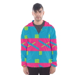 Rectangles And Diagonal Stripes Mesh Lined Wind Breaker (men)