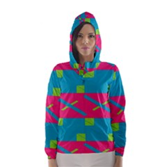 Rectangles and diagonal stripes Hooded Wind Breaker (Women)
