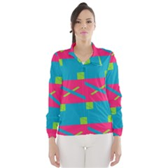 Rectangles And Diagonal Stripes Wind Breaker (women)