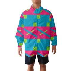 Rectangles and diagonal stripes Wind Breaker (Kids)