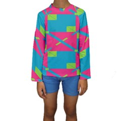Rectangles and diagonal stripes  Kid s Long Sleeve Swimwear
