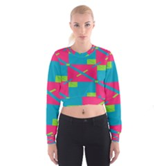 Rectangles and diagonal stripes   Women s Cropped Sweatshirt