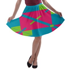 Rectangles And Diagonal Stripes A Line Skater Skirt