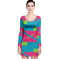Rectangles And Diagonal Stripes Long Sleeve Velvet Bodycon Dress