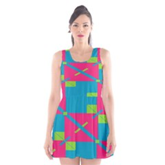 Rectangles And Diagonal Stripes Scoop Neck Skater Dress