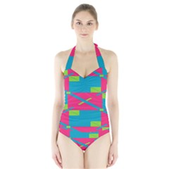 Rectangles And Diagonal Stripes Women s Halter One Piece Swimsuit