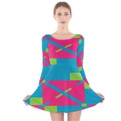 Rectangles and diagonal stripes Long Sleeve Velvet Skater Dress