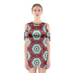 Hexagons pattern Women s Cutout Shoulder Dress